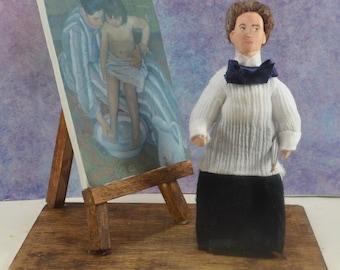Mary Cassatt  Doll Miniature With Easel Diorama Art Scene Famous Artists
