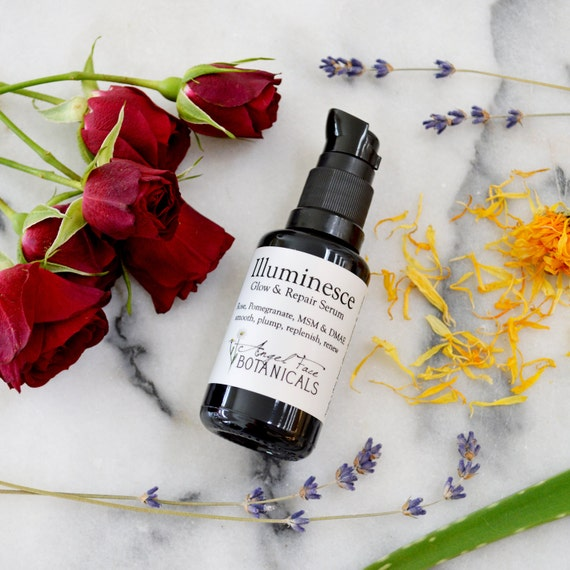 Illuminesce Glow + Repair Serum. Organic Facial Serum with MSM, DMAE, Pomegranate + Calendula for Smoothing Fine Lines + Wrinkles - 1.1 oz