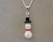 Freshwater Pearl SNOWMAN Necklace Freshwater Pearl SNOWMAN Pendant - choice Silver or gold Christmas Jewelry