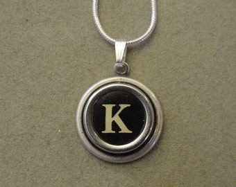 Typewriter key jewelry necklace BLACK LETTER K  Typewriter Key Necklace - Initial K serif font Initial Necklace K