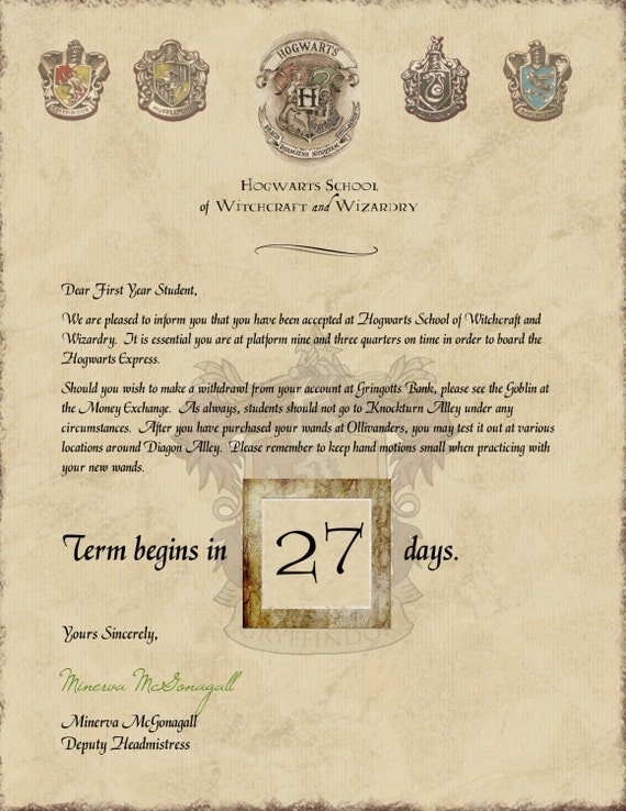 Satisfactory image in harry potter acceptance letter printable
