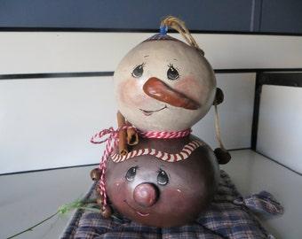Gourd Snowman Gingerbread Man OOAK