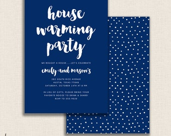POLKADOT BLUES - DIY Printable Double Sided Housewarming Party Invitation - Modern Brush Calligraphy - New Home - Polka Dots
