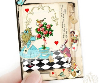 Alice in Wonderland, Aceo, Artist trading card, print, Giclee, Illustration, Queen of hearts, rose, white rabbit, miniature, collectibles