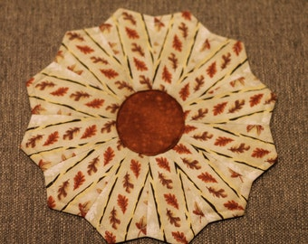 "Pair of 9.5"" Autumn Leaves Dresden Plate Tabletoppers"