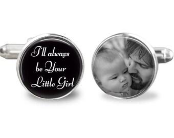 Father of the bride cufflinks, , wedding cufflinks,daddy's little girl cufflinks personalized picture cufflinks