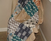 Mountain Adventure with Minky Border Comforter Blanket  MADE TO ORDER