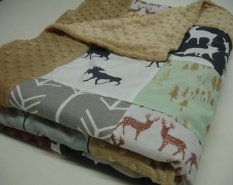 In the Woods Navy Brown Gray Mint Gold with Minky Border Blanket You Choose Size MADE TO ORDER No Batting