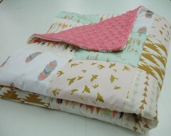 Born Free Mint Coral and Gold 3 Piece Blanket and Baby Crib Set Bedding MADE TO ORDER