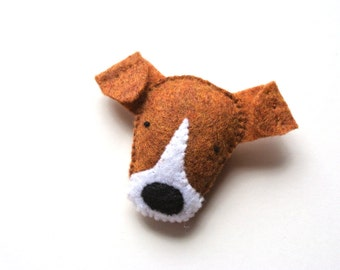 Jack Russell Felt Brooch Dog Jewelry Dog Felt Pin Plush Dog Pet Softie Handmade Jewelry Fashion Felt Accessory For Dog Lovers Brown White