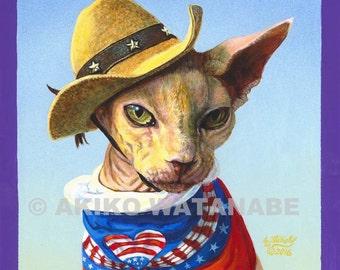 Original Painting of Sphynx Sphinx Cat Independence Day 8x8 Akiko ArtByAkiko