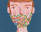 Beard of flowers  art print, home decor, wall decor, illustration