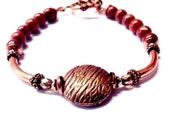 brown stone bracelet - red jasper bracelet - copper bracelet - red clay- copper coin - round beads - 7th anniversary gift - bronze