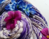 Handspun Art Yarn - WEDDING CAKE - White, Lilac Purple. Textile Flowers, faux Pearls. Soft, Creamy Texture. Luxury Knitting. 91 yds, 3.67 oz