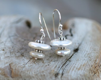 White Freshwater Pearl Double Stacked Sterling Silver Handmade Earrings, June Birthstone, Birthstone Jewelry, Whit