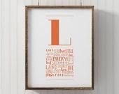 Letter nursery art, Monogram Letter L, printable letter art, Wall Art, Nursery Decor, printable L poster, kids room wall art, alphabet art