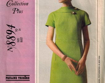 1967 McCalls 8894 Mod Dress Sewing Pattern Vintage Size 10 by Pauline Trigere Great collar!
