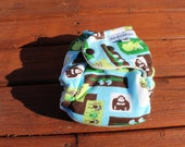 Final Clearance: Extra Small / Newborn Safari Animals organic bamboo fitted cloth diaper. LAST 1 of this print