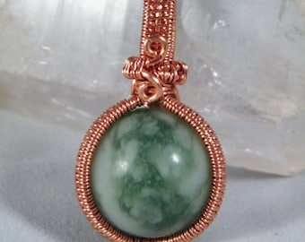 Peace Jade crystal ball, woven wire wrapped pendant