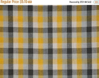 40% OFF SALE FLAWED Homespun Fabric   Sewing Fabric   Cotton Fabric   Quilt Fabric   Check Fabric   Yellow White Grey And Charcoal   40 x 44
