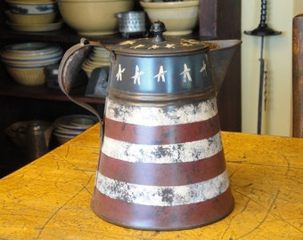 Americana Vintage Tin Coffee Pot Handpainted