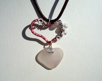 Sea Glass Necklace -White Seaglass Heart -Heart Shaped Piink Petina Copper Charm Pendant -Brown Leather Jewelry