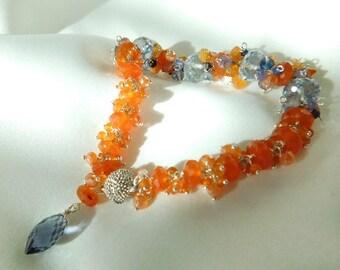 Carnelian Bracelet - Iolite Bracelet - Blue and Orange - Blue Bracelet - Orange Bracelet