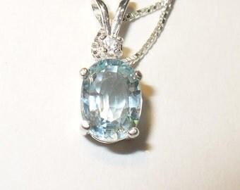 Genuine Aquamarine & Zircon Gemstone Pendant Necklace in Solid Sterling