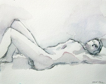 Original Figure Drawing - Purple and Black Reclining -  Mixed Media on Paper -  by Michelle Arnold Paine