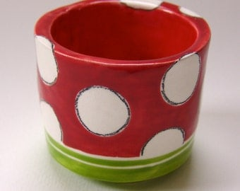 colorful pottery Desk Cup or kitchen & bath Dish big whimsical bright Holiday polka-dots, for salsa, salt cellar, cotton swabs, paper clips