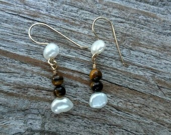 Handcrafted / 14k Gold Filled / Tigers eye / Freshwater Pearls / Earrings
