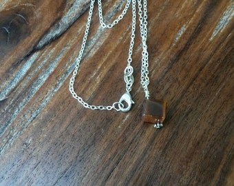Beautiful Tigers Eye Cube Stone Necklace.