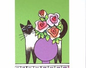 Siamese Cat Art Print/ Seal point with Roses by Susan Faye