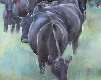"""Original Angus Heifers Herd Oil Painting 18x24"""""""