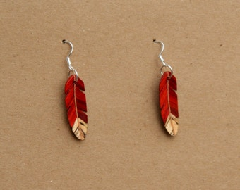 Handcarved Redheart, Spalted Hackberry and Maple Wood  Leaf / feather  Earrings  J160301