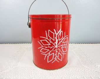 Vintage Lard Pail with Handle - Metal Can - Hand Painted Snowflake Design