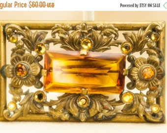 Vintage Czech Gold Tone Brooch with Amber Faceted Stones