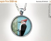 ON SALE Woodpecker : Glass Dome Necklace, Pendant or Keychain Key Ring. Gift Present metal round art photo jewelry HomeStudio. Silver Copper