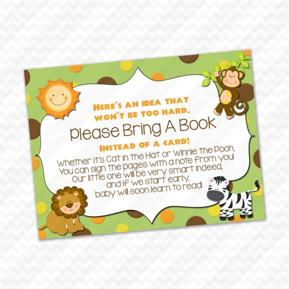 please bring a book instead of a card jungle safari baby shower