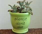 Ceramic Succulent Planter - Please Don't Die Planter - Gag Gift - Small Pottery Plant Pot with Drainage Tray in Lime Green