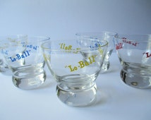 Bar Glasses Eva Zeisel Lo-Ball Red Blue Yellow Bar Glasses Set of Five - Retro Vintage