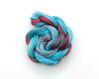 Space dyed cotton perle 8 embroidery thread, light blue, powder blue, dull red, light red brown, crochet thread, tatting yarn