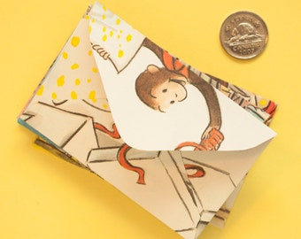 Curious George - Set of 11 miniature upcycled envelopes