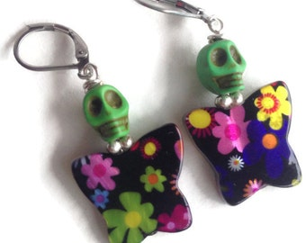 Green Skull on a Black and Multi-Floral Butterfly Earrings Day of the Dead Halloween