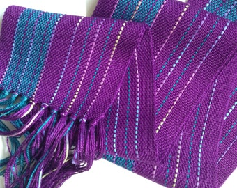 handwoven scarf in magenta and teal bamboo