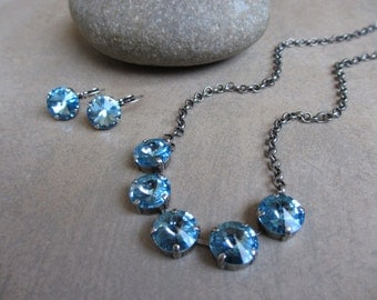 Aquamarine Swarovski Crystal Necklace and Earrings Set, Silver, Oxidized, Statement Necklace, Choker, Blue Necklace, Irisjewelrydesign