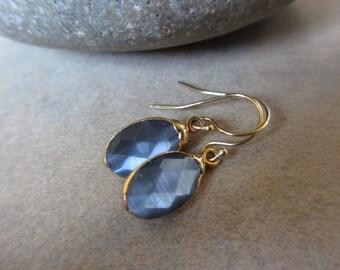 Blue Cats Eye Earrings, Gold Earrings, Blue Earrings, Small, Oval, Irisjewelrydesign