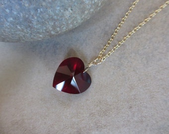 Valentine's Heart Necklace, Garnet Red Swarovski Crystal, Gold Necklace, Irisjewelrydesign