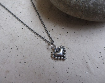 Tiny Heart Necklace, Sterling Silver, Oxidized, Heart Pendant, Valentines Day, Small, Irisjewlerydesign