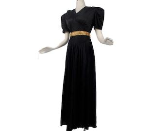 Vintage 40s Gown - Vintage 40s Dress - Black 40s Gown - Black Gold - Black 40s Dress - Black Gown - Gold Belt - 40s Noir - Art Deco -